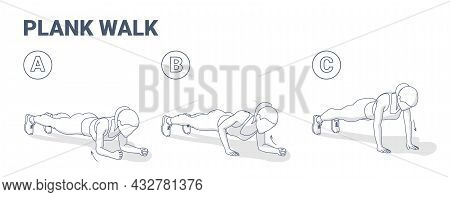 Woman Doing Plank Walk Up Exercise Fitness Home Workout Guidance Illustration.