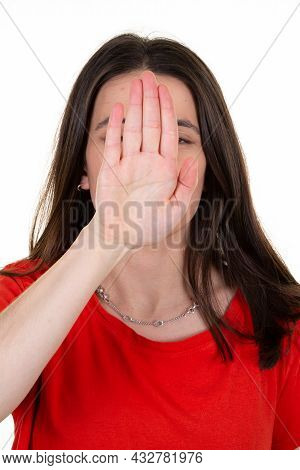 Woman Making A No Sign Rejection Pose On White Background
