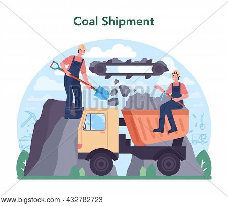 Coal Industry Concept. Mineral And Natural Resources Extraction.