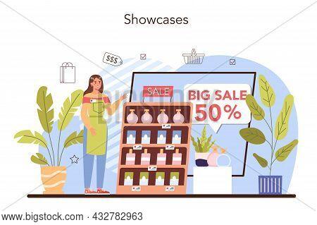 Commercial Equipment. Entrepreneur Putting Goods On Showcases