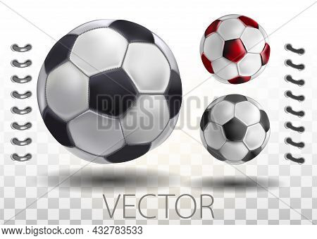 Shiny Soccer Ball Waiting To Be Kicked, Vector. High Detailed Realistic Soccer Ball On Transparent B