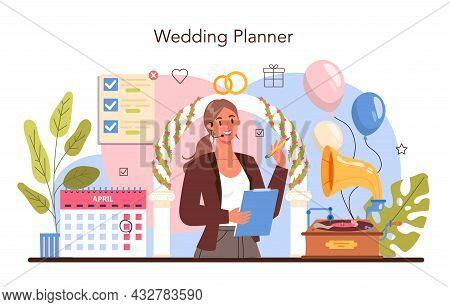 Wedding Planner. Professional Organizer Planning Wedding Event.