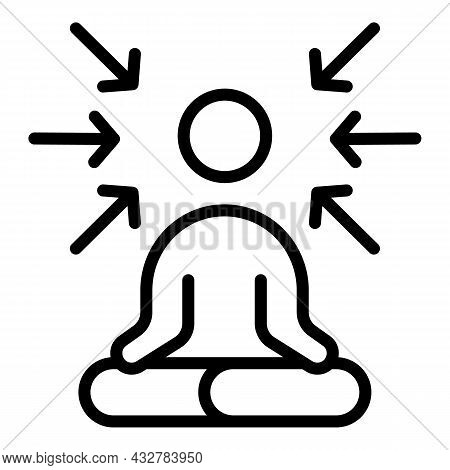 Spiritual Concentration Icon Outline Vector. Human Health. Mind Meditate