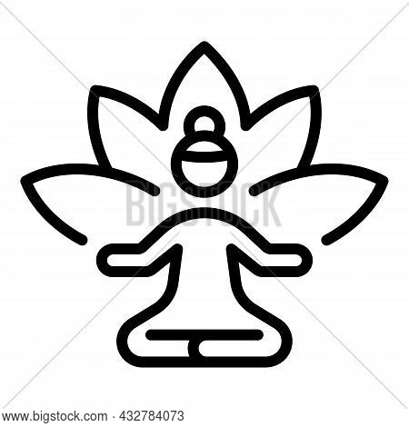 Practice Lotus Icon Outline Vector. Meditate Pose. Relax Time