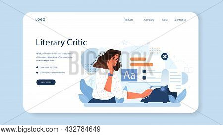 Literary Critic Web Banner Or Landing Page. Professional Journalist