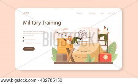 Soldier Web Banner Or Landing Page. Millitary Force Employee In Camouflage