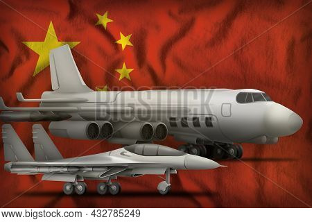 Air Forces On The China Flag Background. China Air Forces Concept. 3d Illustration
