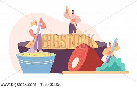 Food Cooking Concept. Cartoon People Eat, Huge Lunch Or Breakfast In Bowl. Happy Adult Prepare Meal,