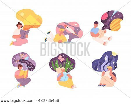 Kids Reading Fairy Tales. Children Imagination, Child Read Book And Has Fantasy. Storytelling, Young