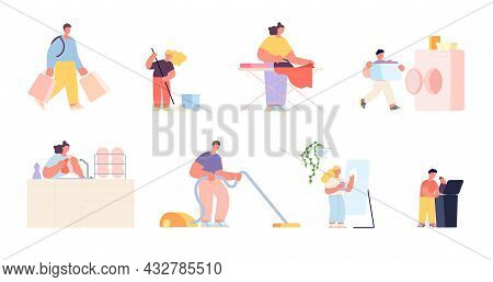 Household Characters. Cleaning House, Woman Cleans Dirty Home. Family Doing Housework, Adults And Ch