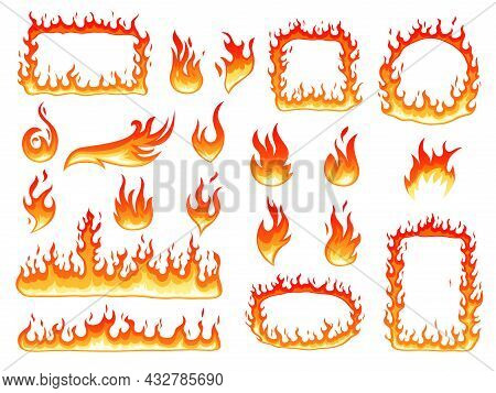 Colorful Fire Flame. Effect Flames, Glowing Fire Symbols. Burning Cartoon Round Frame, Hot Red Bonfi