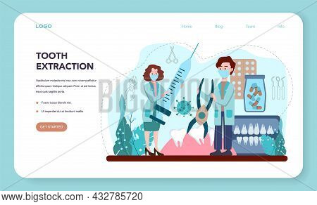Dentist Web Banner Or Landing Page. Dental Doctor In Uniform Extracting