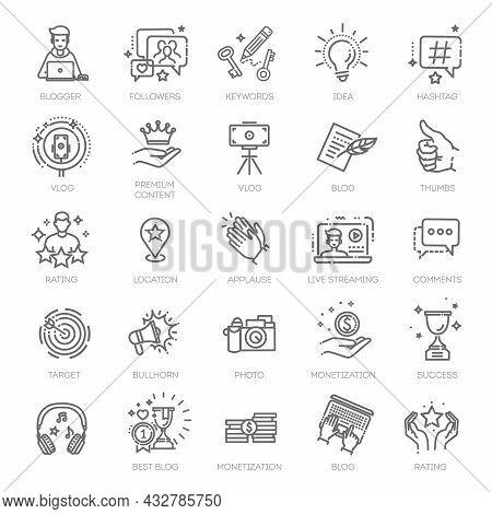 Blogger, Blogging, Blog - Thin Line Web Icon Set