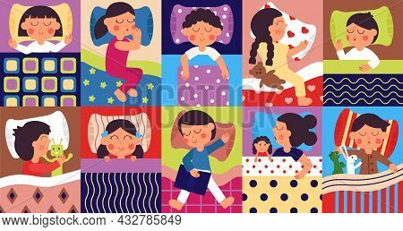Children Sleep. Sleeping Positions, Child Bedtime. Cartoon Kids Group In Bed, Childish Rest With Toy