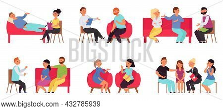 People On Psychotherapy. Support, Therapy And Mental Problems. Isolated Patients, Man On Couch. Prof