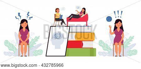 Psychologist Service. Creative Psychology Concept, Consultation On Psychiatrist. Patient Support, Me
