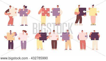 Teamwork Metaphor. Cartoon Business Communication, Puzzle Collect. Partner Collaboration, Relationsh