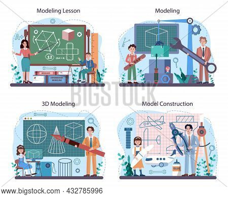 Crafting And Modeling School Course Set. Teacher Educate Students