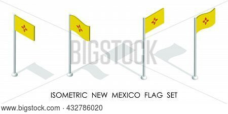 Isometric Flag Of American State Of New Mexico In Static Position And In Motion On Flagpole. 3d Vect