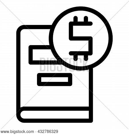 Book Cost Icon Outline Vector. Scholarship Budget. Price Education