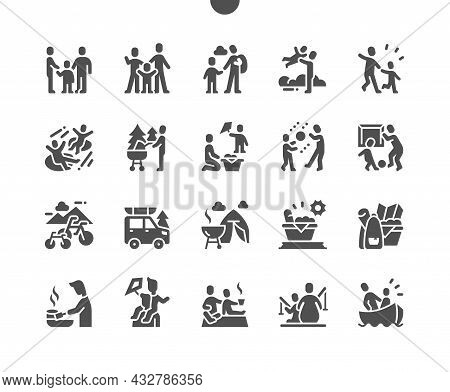 Family Outdoor Recreation. Summer Activities. Picnic And Barbecue. Happy Family. Vector Solid Icons.