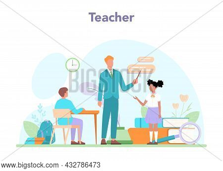 Teacher Concept. Professor Giving A Lesson Online Or In A Classroom
