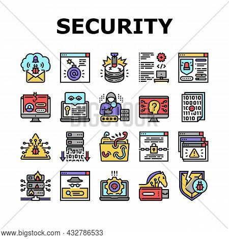 Cyber Security System Technology Icons Set Vector. Cyber Security Software And Application, Padlock