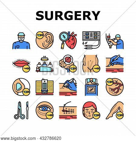 Surgery Medicine Clinic Operation Icons Set Vector. Lips And Facial Plastic Surgery, Liposuction And