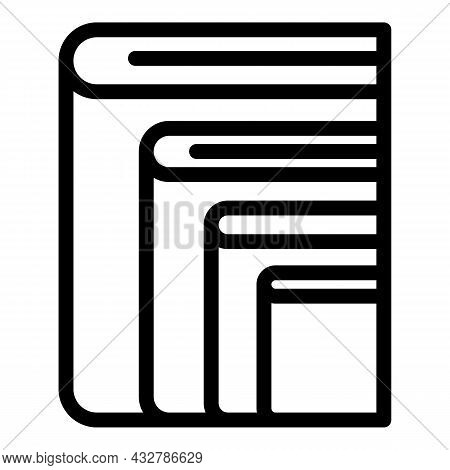 Pile Books Icon Outline Vector. Stack Library. Dictionary Education