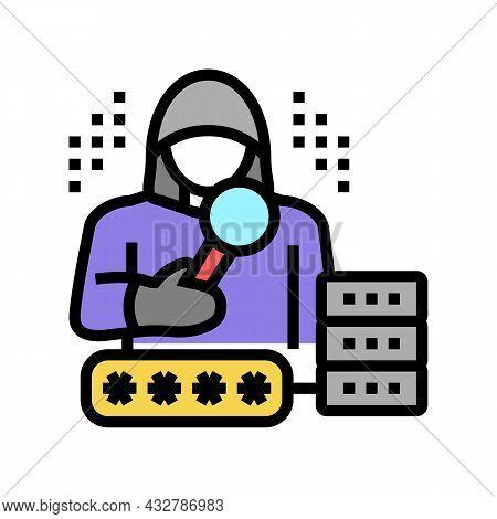 Hacker Digital Thief Color Icon Vector. Hacker Digital Thief Sign. Isolated Symbol Illustration