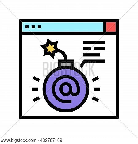 Fraud Internet Problem Color Icon Vector. Fraud Internet Problem Sign. Isolated Symbol Illustration