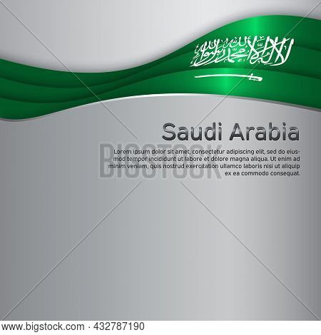 Abstract Waving Saudi Arabia Flag. Creative Metal Background For The Design Of Patriotic Holiday Car