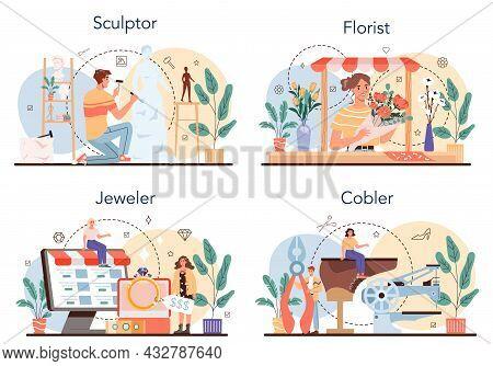 Artistic Occupation Set. Crafting Process. Florist And Sculptor, Jeweler