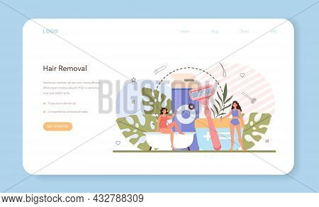 Depilation And Epilation Web Banner Or Landing Page. Hair Removal Method