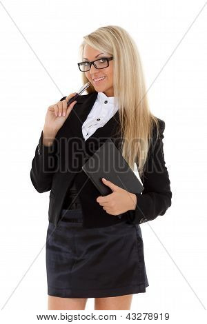 Business Woman With Daily Log And Pen.