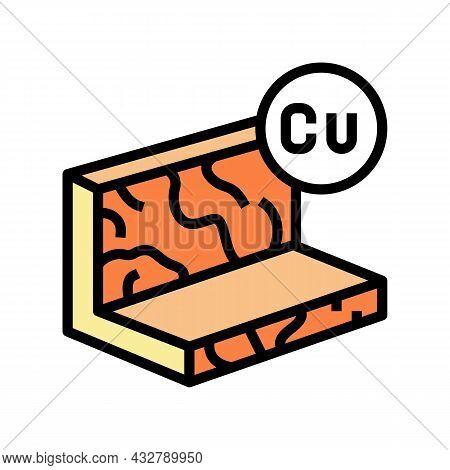 Copper Metal Profile Color Icon Vector. Copper Metal Profile Sign. Isolated Symbol Illustration