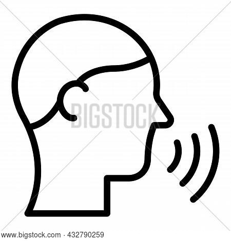 Speaking Man Icon Outline Vector. Face Speech. Head Speak