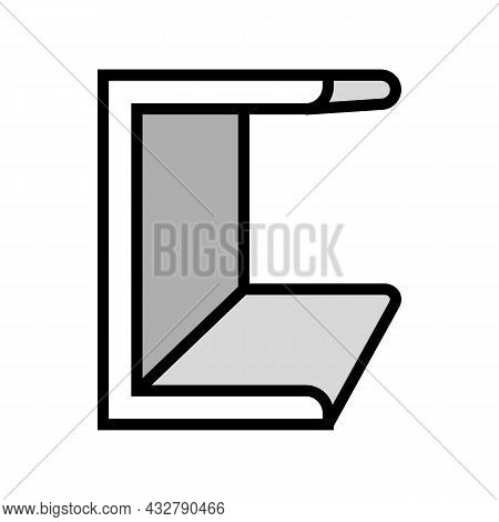 Channel Metal Profile Color Icon Vector. Channel Metal Profile Sign. Isolated Symbol Illustration