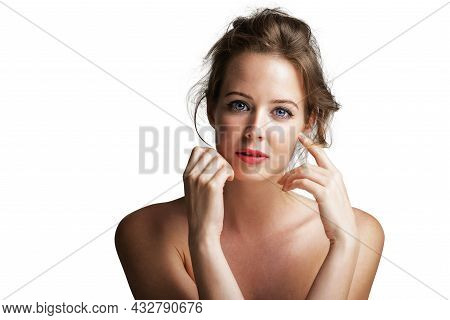 Close-up Beauty Portrait Of Gorgeous Woman Wearing Perfect Makeup While Standing At White Isolated B