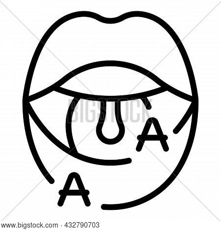 Letter Animation Icon Outline Vector. Mouth Expression. Lip Sync