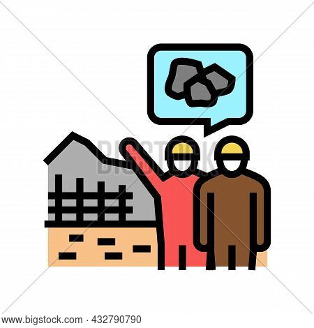 Construction Supervision And Monitoring Color Icon Vector. Construction Supervision And Monitoring S