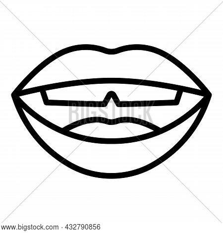 Speech Sound Icon Outline Vector. Mouth Pronunciation. Speak Sync