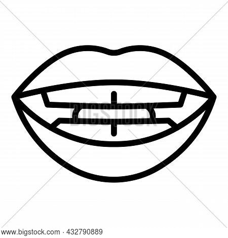 Speech Sync Icon Outline Vector. Mouth Pronunciation. Speaking Lip