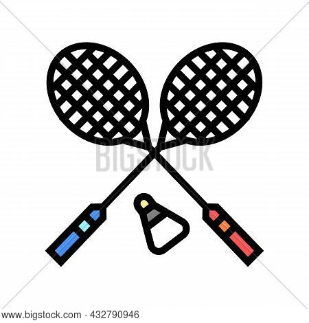 Badminton Sport Game Color Icon Vector. Badminton Sport Game Sign. Isolated Symbol Illustration