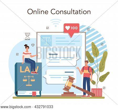 Law Class Online Service Or Platform. Punishment And Judgement Education