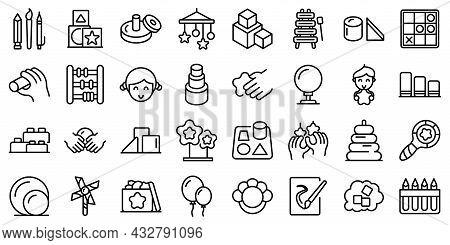 Fine Motor Skills Icons Set Outline Vector. Kids Development. Childhood Activity