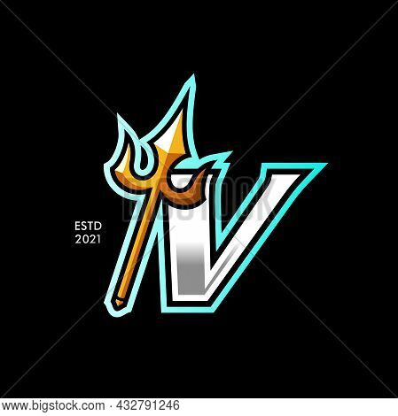 Modern And Colorful Illustration Logo Design Initial V Gold Trident.