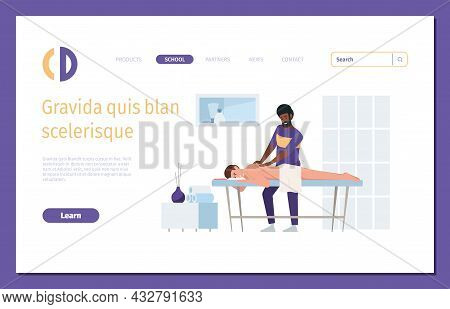 Therapist Landing. Spa Salon Medical Manual Therapy Relax Body Thai Doctor Garish Vector Web Page Wi
