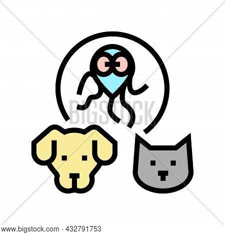 Giardiasis Pet Disease Color Icon Vector. Giardiasis Pet Disease Sign. Isolated Symbol Illustration