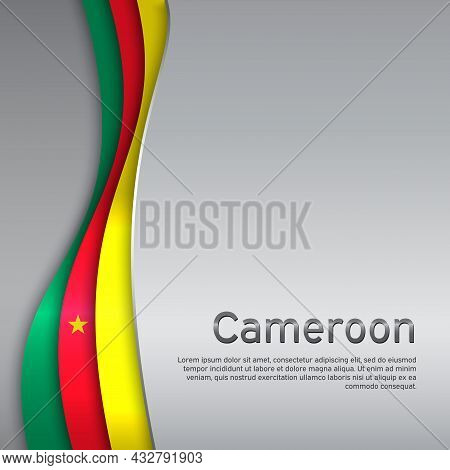 Abstract Waving Cameroon Flag. Paper Cut Style. Creative Metal Background For Patriotic, Festive Car
